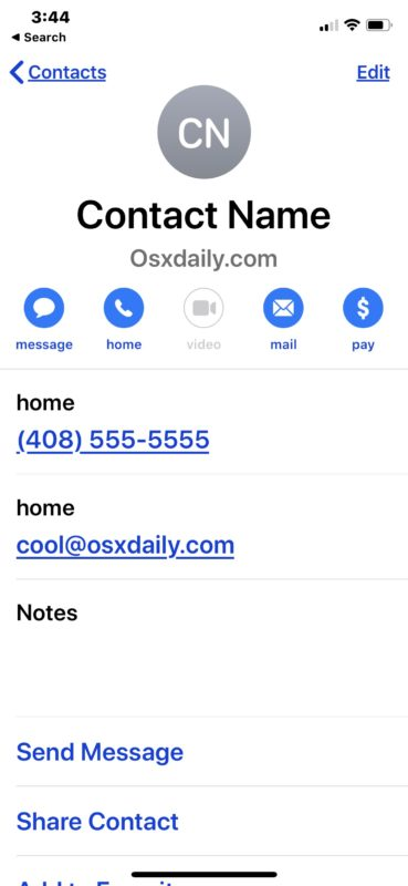 New example contact added to iPhone
