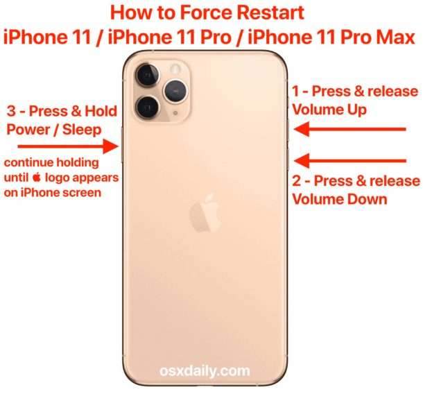 How To Force Restart Iphone 11 Iphone 11 Pro Iphone 11 Pro Max Osxdaily