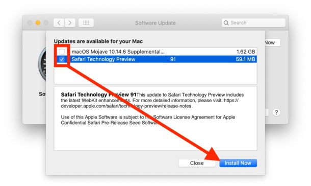 Uncheck updates you do not want to install, then click on install now to selectively install specific updates on Mac OS