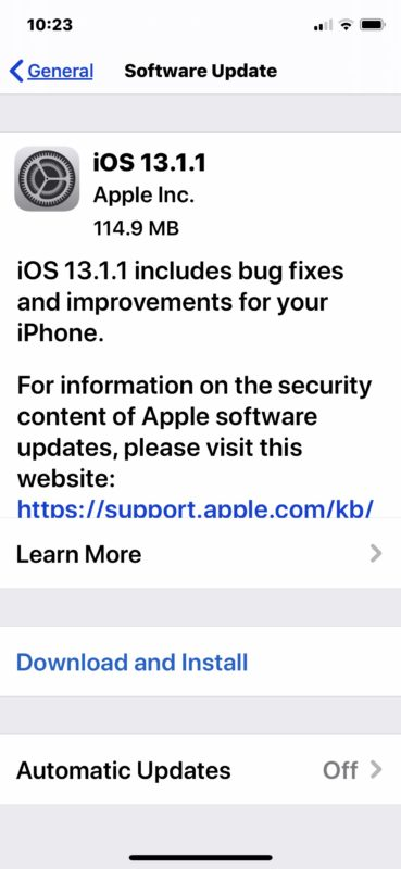 iOS 13.1.1 update download