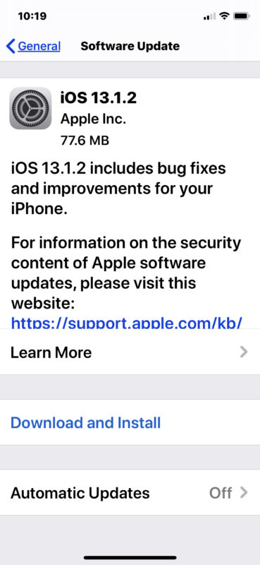 iOS 13.1.2 update download