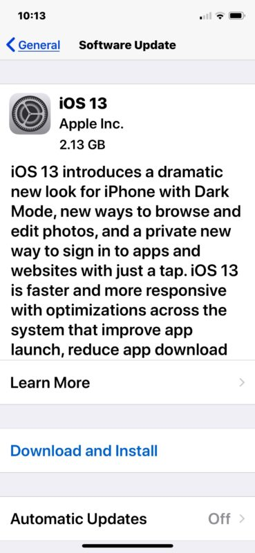 iOS 13 download and install