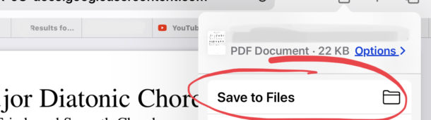 Save files from Safari on iPad