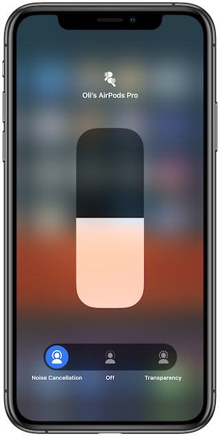 Tap the mode you want to use  with AirPods Pro to switch between noise cancellation and transparency mode