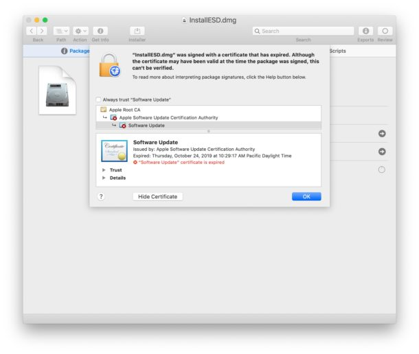 Certificate expired for MacOS Mojave Installer application