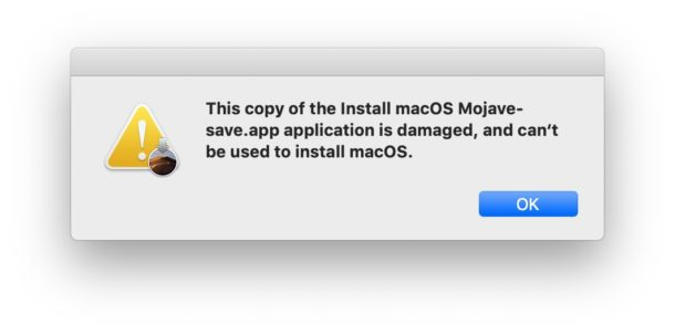 Copy of Install MacOS Mojave application is damaged and cant be used to install macOS