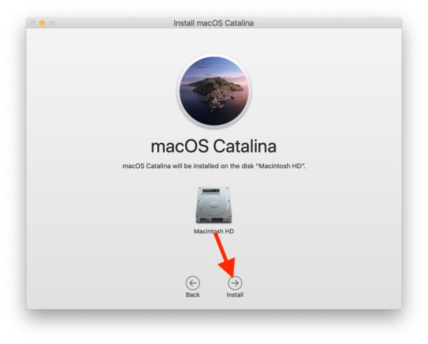 Select destination hard drive for MacOS Catalina and install
