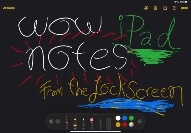 Jotting down notes with Apple Pencil on iPad from lock screen