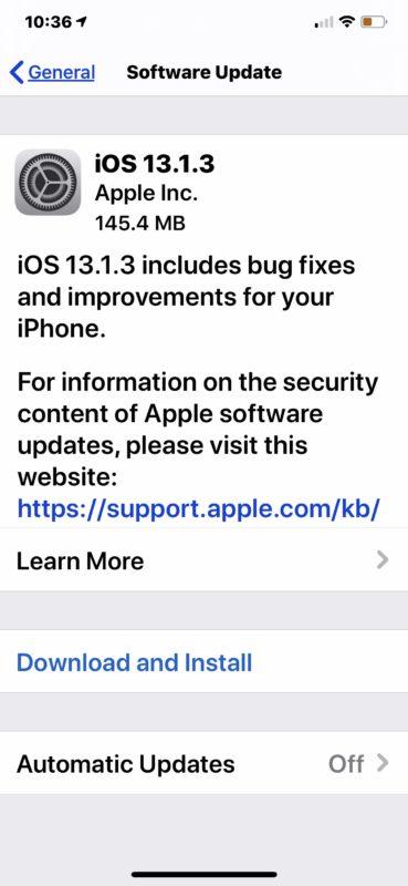 iOS 13.1.3 update