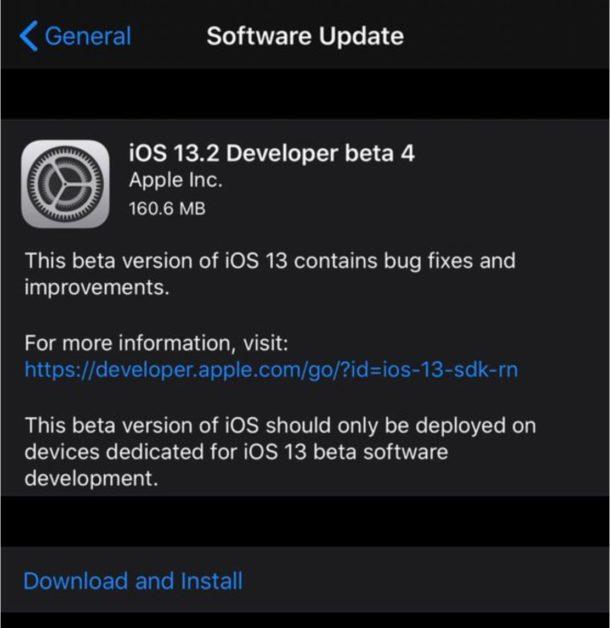 iOS 13.2 beta 4