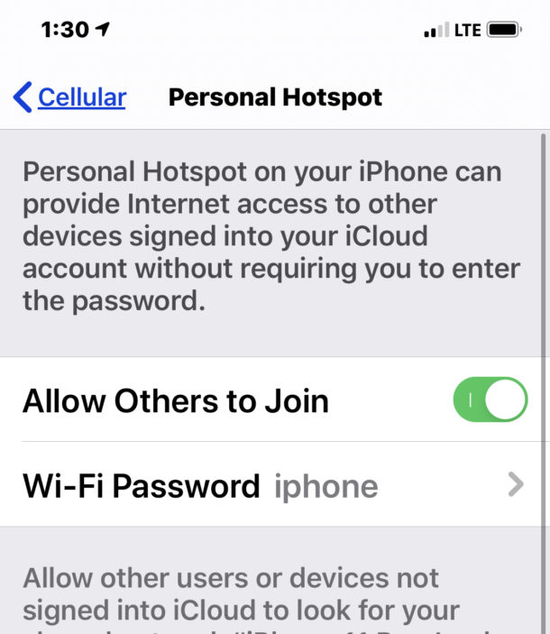 Turning on iPhone personal hotspot