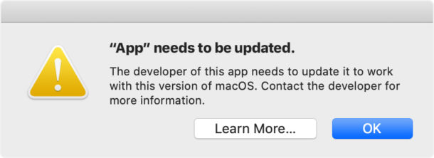 App Needs to be Updated MacOS Catalina error message