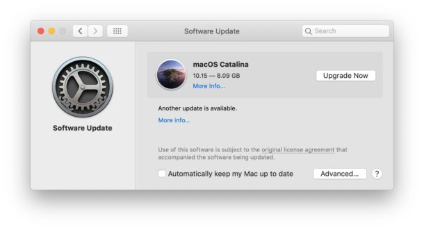 MacOS Catalina shown as available upgrade
