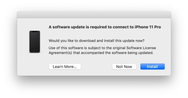 Choose to install software update for iPhone and iTunes