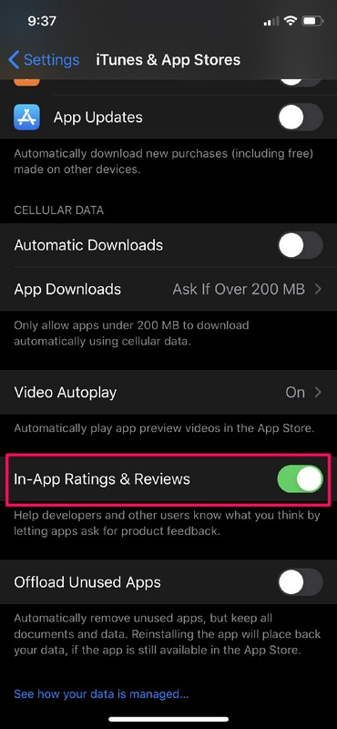 How to Disable IIn-App Ratings & Reviews