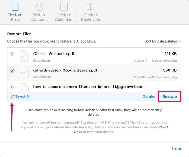 Cách khôi phục tài liệu và tệp iCloud Drive bị mất