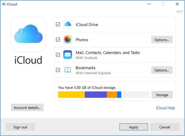 iCloud for Windows setup
