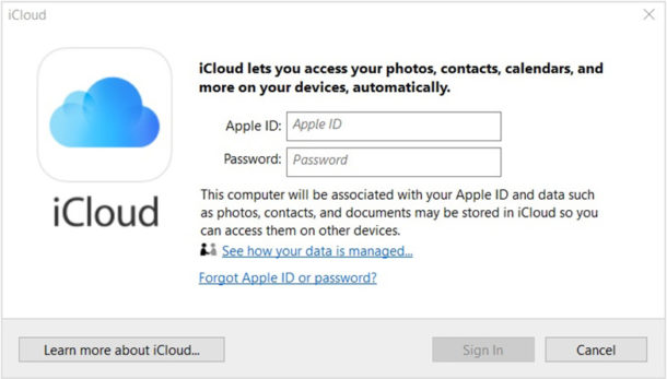 Sign in to iCloud on Windows