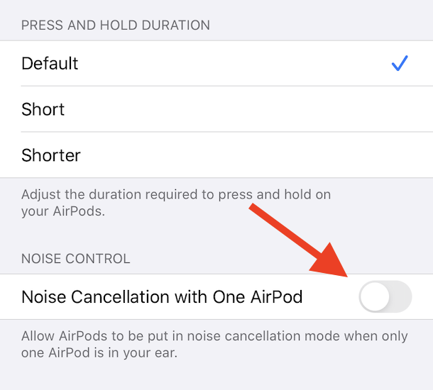 AirPods Pro noise cancellation option