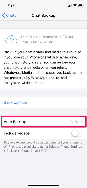 How to Back Up WhatsApp Chats to iCloud