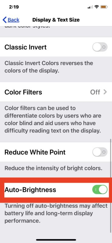 How to enable Auto Brightness on iOS 13 and iPadOS 13 and later
