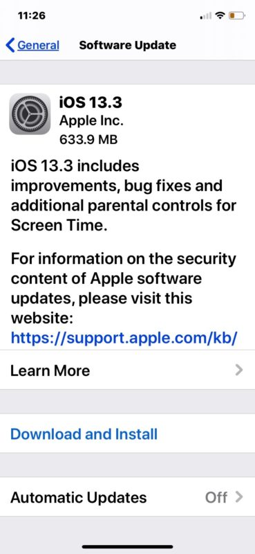 iOS 13.3 update download