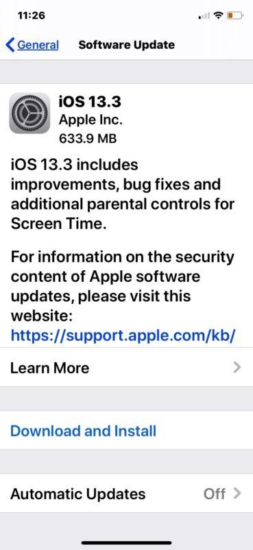 iOS 13.3 update download