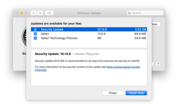 macOS Mojave security update download
