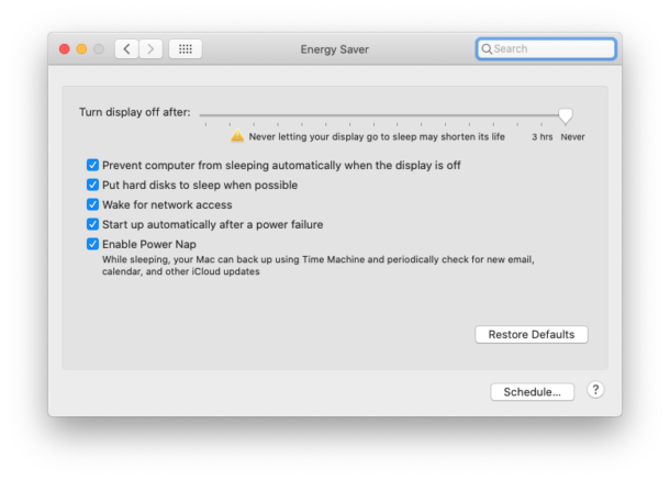 macOS Energy Saver settings on desktop Mac