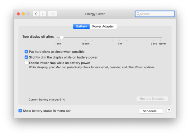 Mac energy settings for Mac laptops on Battery power