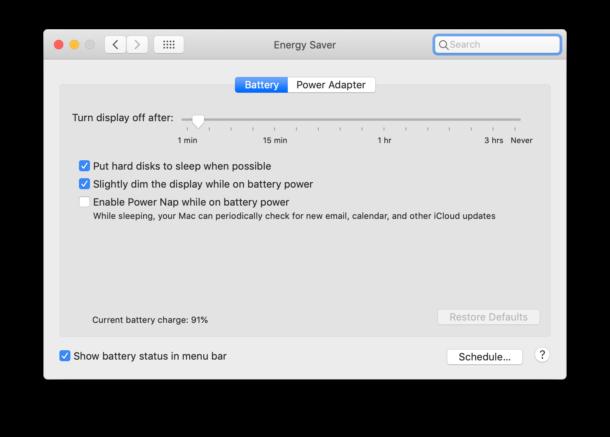 Mac energy settings for Mac laptops on Battery power