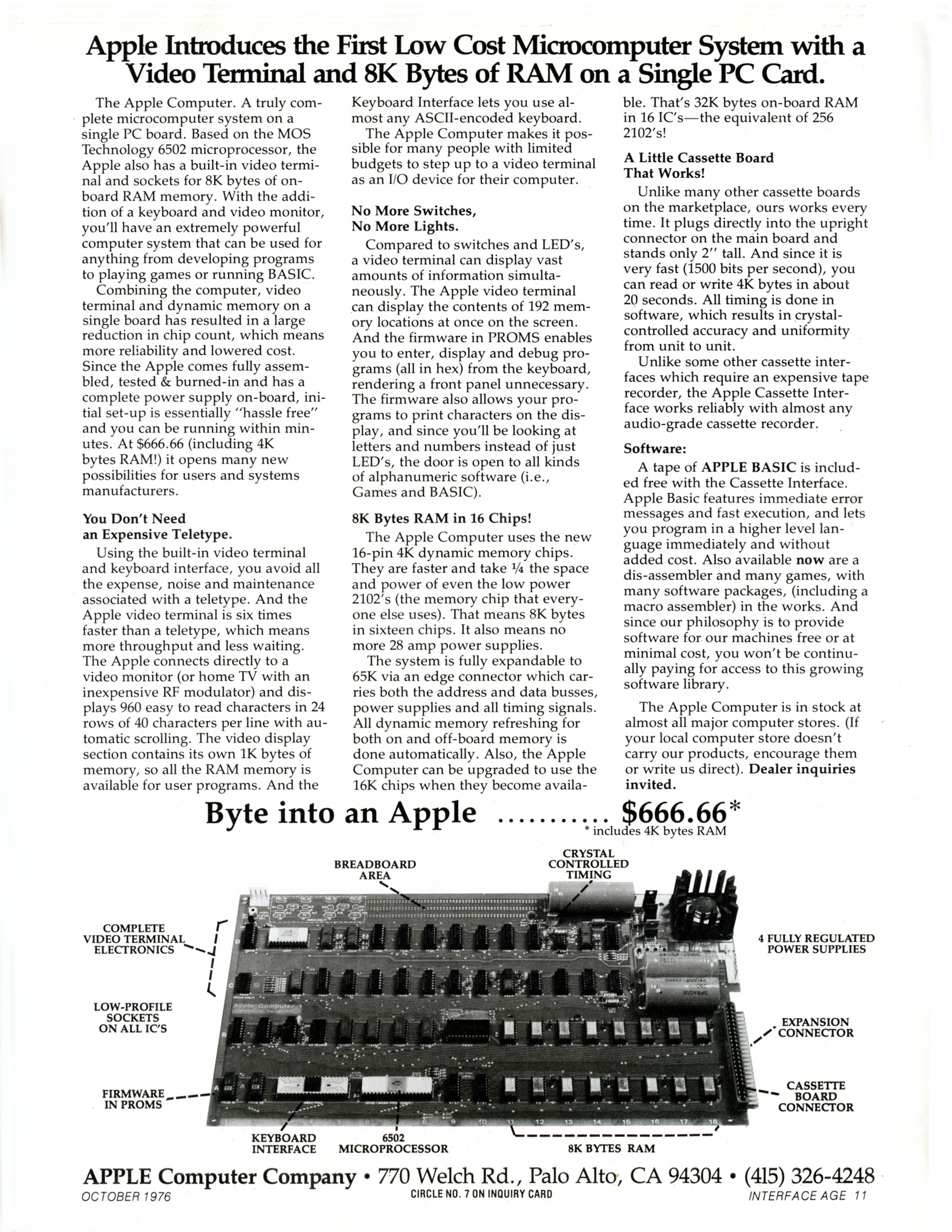 Original Apple I computer advertisement