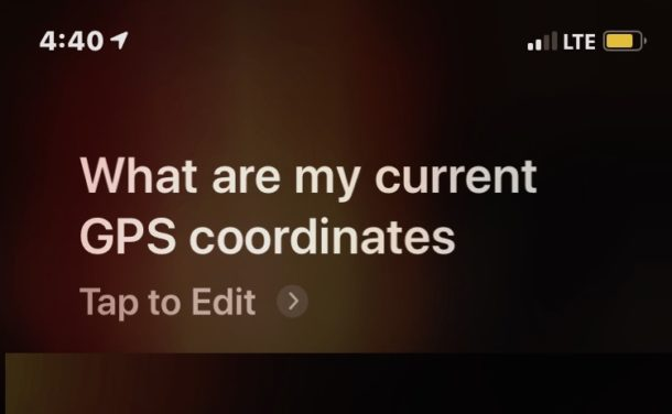 Get current GPS Coordinates from Siri on iPhone