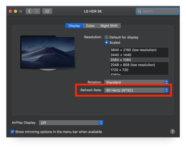 How to change the refresh rate on external Mac display