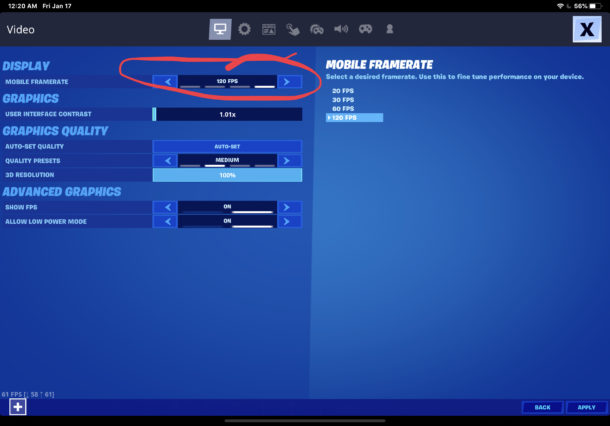 How to change FPS in Fortnite on mobile