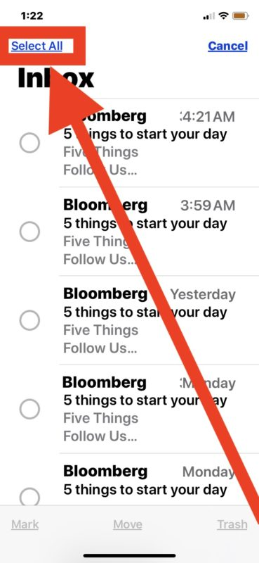 How to delete all emails on iPhone or iPad from Mail app by selecting them all