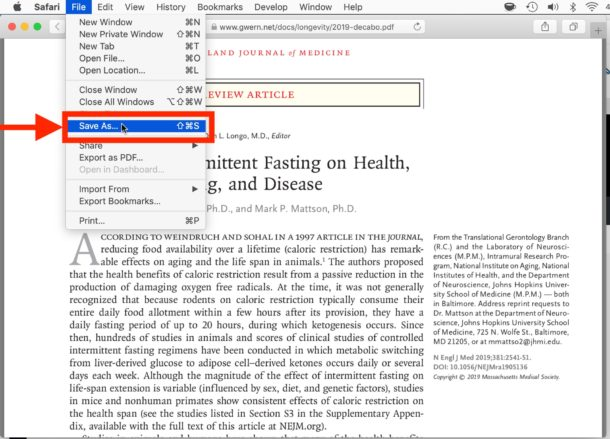 How to save and download a PDF file from Safari to Mac