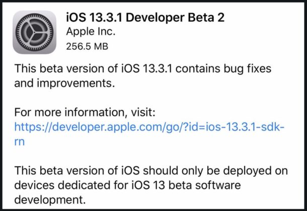 iOS 13.3.1 beta 2 download
