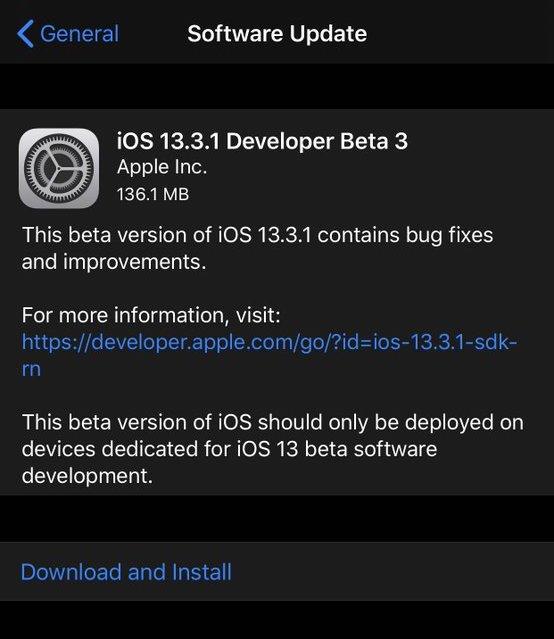 iOS 13.3.1 beta download