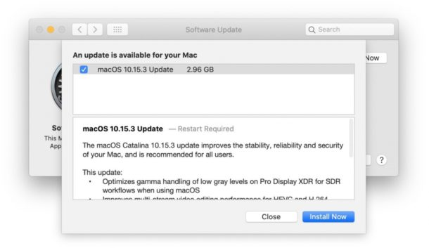 MacOS Catalina 10.15.3 update