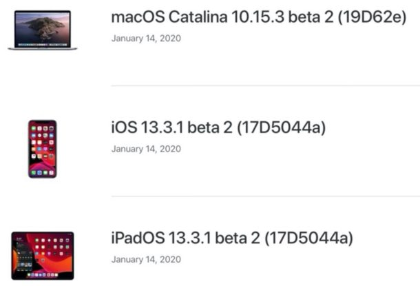 New beta versions of iOS and iPadOS and macOS