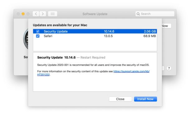 MacOS Security Update for Mojave