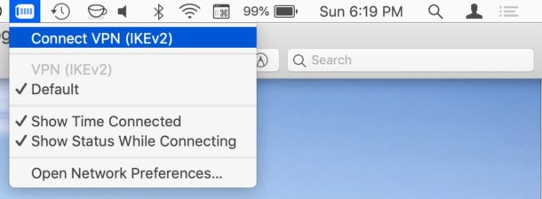 VPN menu on Mac makes it easy to connect and disconnect