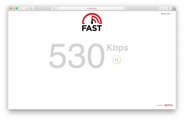 Checking internet connection speed on Mac web browser