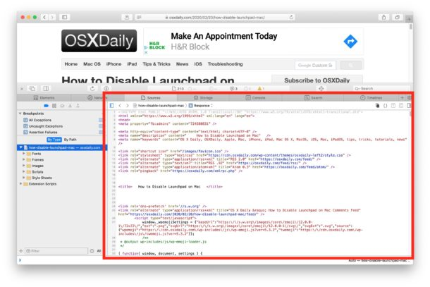 Viewing page source in Safari for Mac