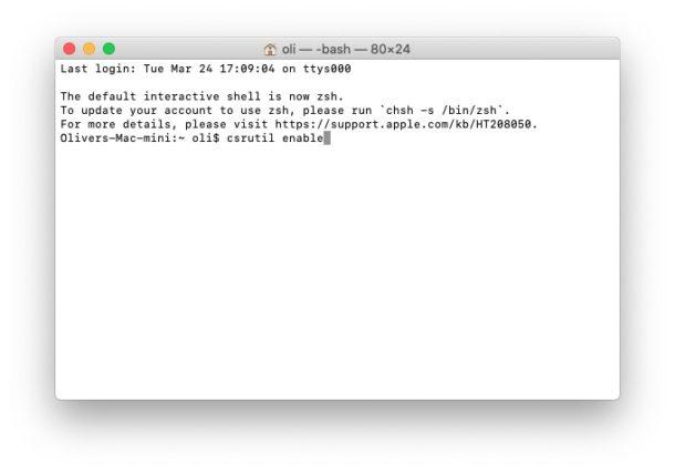 Type csrutil enable into Terminal