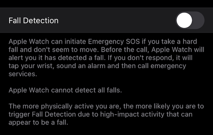 Apple Watch Fall Detection setting
