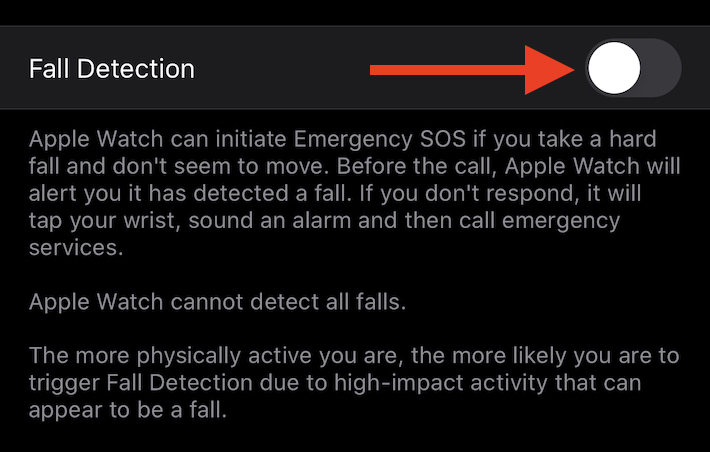 Enable or disable fall detection