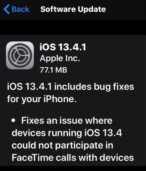 iOS 13.4.1 update