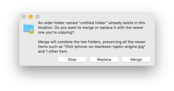 macOS Finder merge dialog box